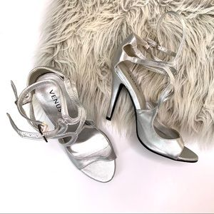 Venus Silver Ankle Strap Open Toe High Heels 7